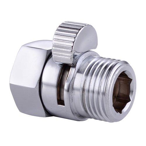 KES Duschkopf Absperrventil Eckventil Wasserstopper Dusche Ventil Duschstop Messing Wasserverteiler Shut-Off Ventil Ersatzteil G 1/2 Poliert Chrom, K1140B-CH