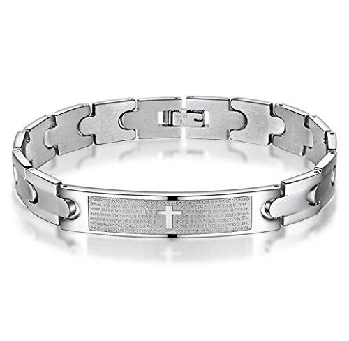 Gudeke Bracelet de lisse Femmes Hommes Personnalité Cross Mantra Bangle Cuff