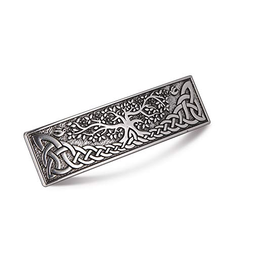 TEAMER Vintage Celtic Knot Hair Clip Metal Tree of Life Barrettes Hair Accessories Styling Gifts for Women (Silver)