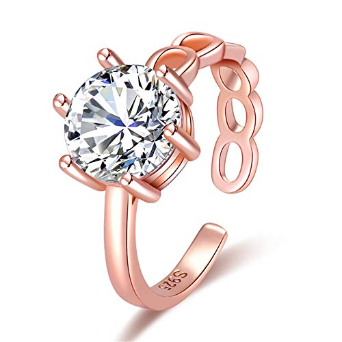 minjiSF Anillo de diamante abierto para mujer, anillo de boda brillante, anillos...