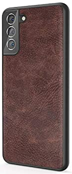 Salawat Galaxy S21 Case Slim PU Leather Vintage Shockproof Phone Case Cover Lightweight Soft TPU Bumper Hard PC Hybrid Protective Case for Samsung Galaxy S21 6.2inch 2021  Dark Brown