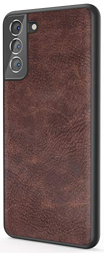 Salawat Galaxy S21 Hülle, Slim PU Leder Vintage Stoßfest Handyhülle Cover Leicht Weich TPU Bumper Hard PC Hybrid Schutzhülle für Samsung Galaxy S21 6,2 Zoll 2021 (Dunkelbraun)
