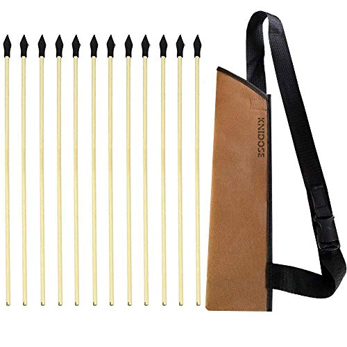 KNIDOSE 12 Pcs Safety Archery Target Arrows with Quiver - 18 Inch Handmade Wooden Arrows for Kids and Beginners   Soft Rubber Tips