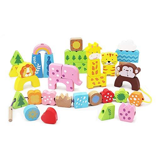 Actividad Cubo de Madera Bead Maze Niño Bead Laberinto Roller Roller Animal círculo Juguetes Educativo ábaco Beads Juego para niños niñas bebé Regalo Actividad de Aprendizaje Divertido Cubo