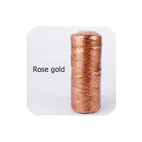 1Pcs 12Ply 110 Yard Gold Foil Metallic Bakers Twine Gold Silver Sparkly Glitter String Wedding Baker Twine Wrap Presents,Rose Gold