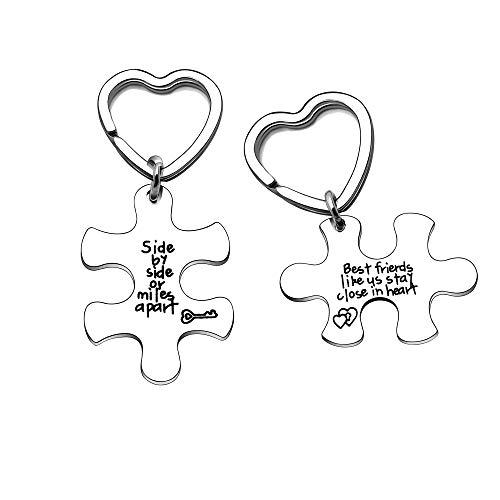 Angelra Schlüsselanhänger für Damen Herren Geschenk für Freund Freundschaft Schlüsselbund mit Gravur Puzzle- We Dream Together, We Laugh Together (Style 3)