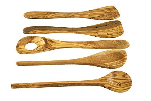 Juego de cocina de madera de olivo, 5 piezas, espátula, cuchara para risotte