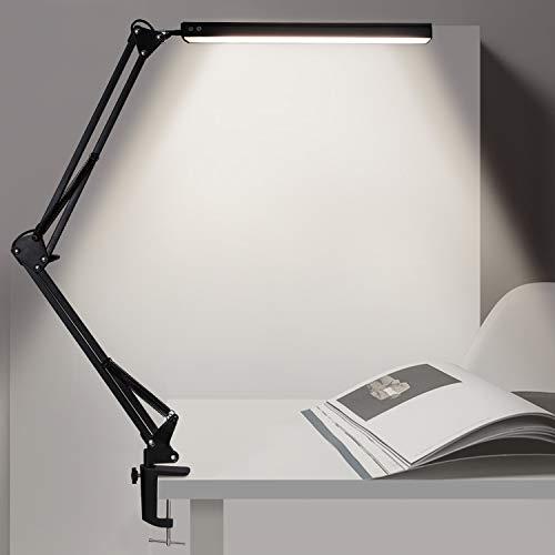 Schreibtischlampe Led, VEHHE Led Tischlampe Klemmbar Augenschutz 3 Farbtemperaturen 10 Helligkeiten Schwenkarm Architektenlampe, Memory Funktion, 10W, Schwarz