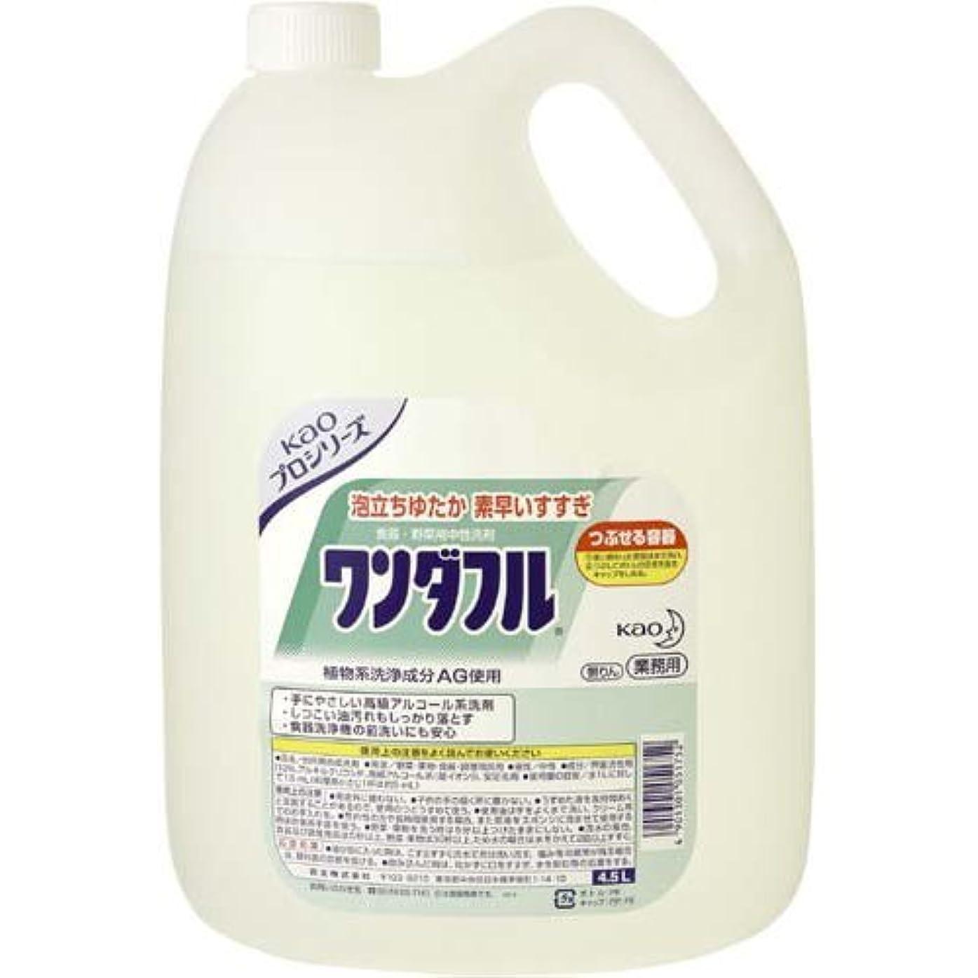 シャー賢い威信花王 業務用食器洗い洗剤 ワンダフル 4.5L×4本