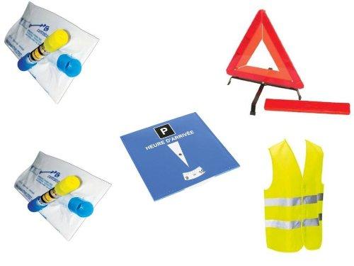 Kit auto sécurite : 1 gilet jaune EN471 + 1 triangle de signalisation + 2 éthylotests NF + 1 disque de stationnement bleu.