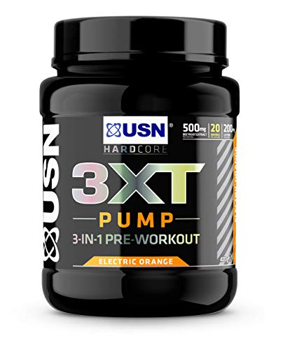 USN 3XT Pump Orange 420 g: Pre Workout Supplement Energy Drink With Caffeine, Enxtra and AstraGin