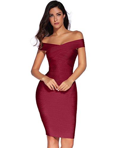 meilun Women's Rayon Strap V-Neck Bandage Bodycon Party Dress (XS, Wine)