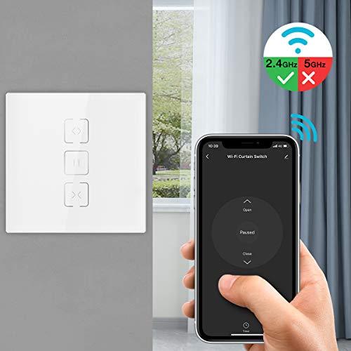 MoKo WiFi WLAN Smart Vorhang Rolladen Schalter mit Touch Panel, APP Fernbedienung und Sprachsteuerung für Fenster Jalousien, Kompatibel mit Alexa Echo Google Home, ohne Hub Benötig -1Pcs