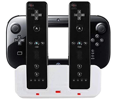 YANHAI Haiyan Store Estación de Carga Dock Stand Charger Fit for Wii Remote Controller Fit para Wii U Gamepad con baterías y USB Cuerda de Carga (Color : BK)