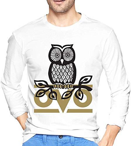 OVO Owl Herren Langarm T-Shirt Baumwollhemden mit Rundhalsausschnitt