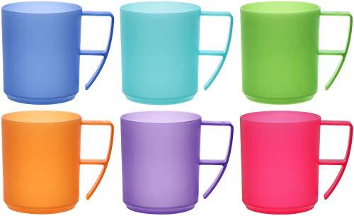 idea-station NEO Kunststoff-Tassen 6 Stück, 350 ml, bunt, Griff, mehrweg, bruchsicher, Kaffee-Becher, Kaffee-Tasse, Kinder-Tasse, Kinder-Becher, Party-Geschirr, Camping-Geschirr