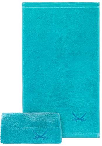 Sansibar Gästehandtuch 2er Set 30x50 cm 100% Baumwolle mit gesticktem Säbel Logo Set Handtuch Seiftuch Türkis
