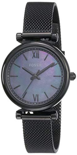 Fossil Women's Carlie Mini Quartz Mesh Three-Hand Watch, Color: Black (Model: ES4613)
