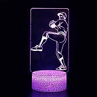3Dイリュージョンナイトライト ボールスポーツ 溶岩亀裂ベース 3Dランプオプティカル7色段階的に変化する子供用LEDライトスマートタッチベッドサイドランプベッドルーム男の子用ホームデコレーションクリスマスギフト