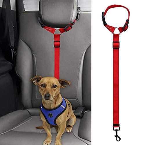 MUGBGGYUE Arnés de cinturón de seguridad para perros con correa de seguridad, longitud ajustable, correa de seguridad para mascotas, cuerda para reposacabezas de vehículo