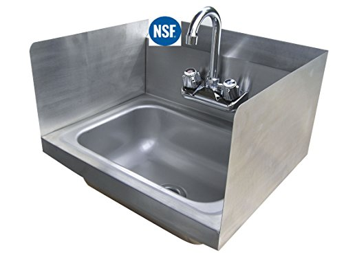 """Stainless Steel Hand Sink with Side Splash - NSF - Commercial Equipment 16"""" X 16"""""""