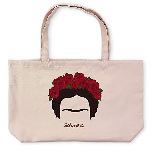 LolaPix Bolsa Frida Khalo Personalizada con Nombre/Texto. Regalos Personalizados. Tejido Tipo Canvas. Varios Diseños a Elegir. 48x35cm. Bolsa Kate. Frida Khalo