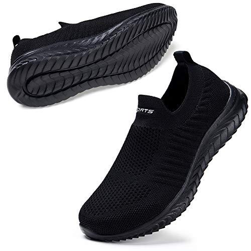 STQ Zapatos para caminar para mujer sin cordones en zapatillas casuales, Todo negro., 39 EU