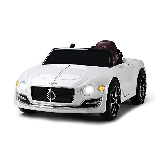 TOBBI 12V Licensed Bentley Kids Ride On Racer Cars Toy Battery Powered Vehicle with Remote Control 3 Speeds MP3 USB in White