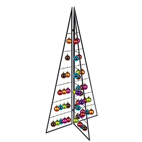 FineHome Tannenbaum Metall Weihnachtsbaum Christbaum klappbar Deko Schwarz 33 Haken H100xB56XL28cm
