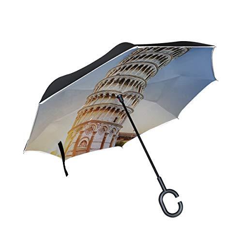Doble Capa Invertida a Prueba de Viento Paraguas invertido Inclinado Bissar Torre...
