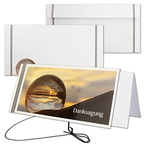 50x Trauerkarte mit Umschlag Set Danksagung - weltlich - inklusive hochwertiger Box - DIN Lang Quer-Format - Danksagungskarten Trauerkarten nach Beerdigung - Trauer-Papiere by Gustav NEUSER