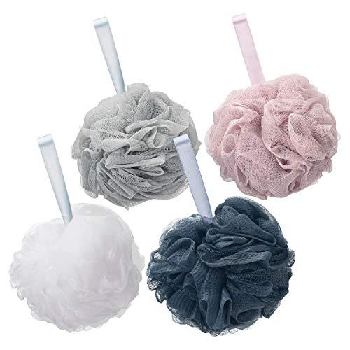 Titanker Bath Loofah Sponge, Shower Sponge Loofahs 75g/pcs Mesh Pouf Soft Body Scrubber Ball, Exfoliating Bath Sponge for Women and Men, Pack of 4, Dark Grey-Pink-Grey-White