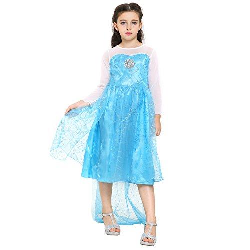 Katara 1008 - Vestido de Princesa Elsa Disfraz Frozen para Niñas 7-8 Años, Azul