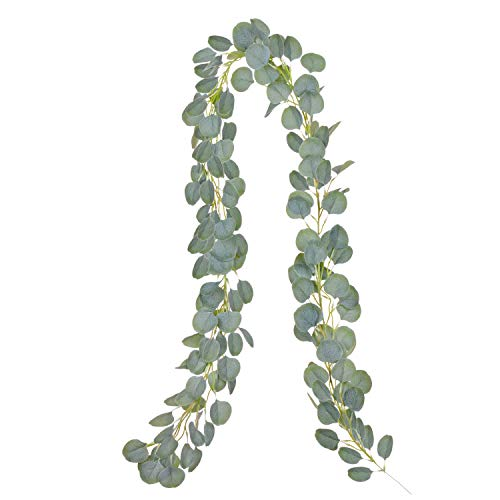 YQing Artificial Eucalyptus Garland Faux Silk Eucalyptus Vines Handmade Garland Leaves Greenery Wedding Backdrop Arch Wall Decor
