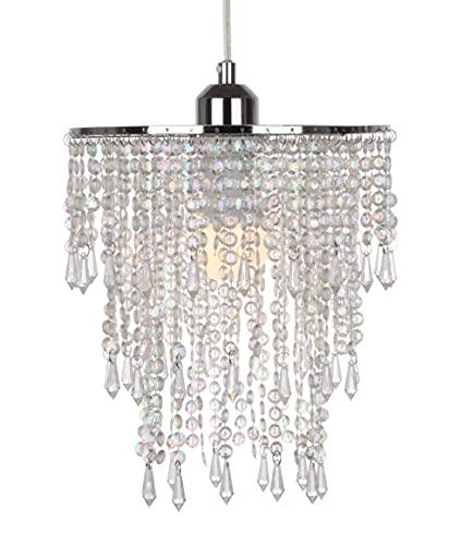 Impresionante lámpara de techo moderna con gotas de acrílico de plástico transparente brillante, 3 niveles, 225 mm de diámetro, 280 mm de altura