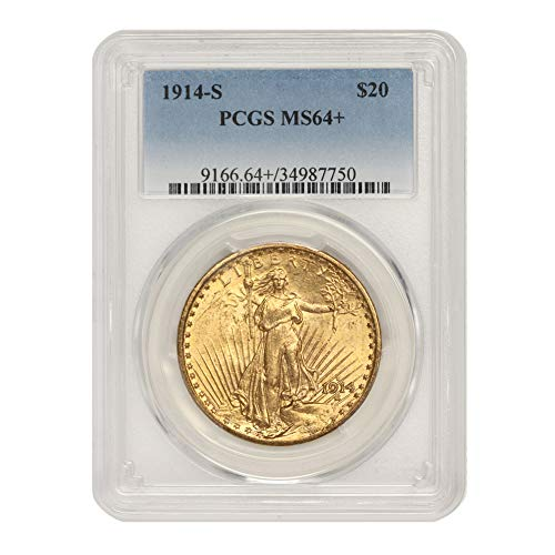 1914 S American Gold Saint Gaudens Double Eagle MS-64+ by CoinFolio $20 MS64+ PCGS