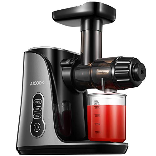 Juicer Machine, Aicook Slow Masticating Juicer, Extractor with Two juice settings & Reverse Function, 150W Quiet & Safe Motor, Higher Juicer Yield and Drier Pulp of Soft and Hard Fruit, Juice Recipes, BPA Free