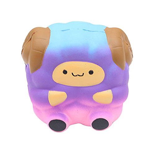 iuuhomeJumbo Sheep Squishy Cute Galaxy Rainbow Alpaca Slow Rising Scented Toy Gift (Purple)