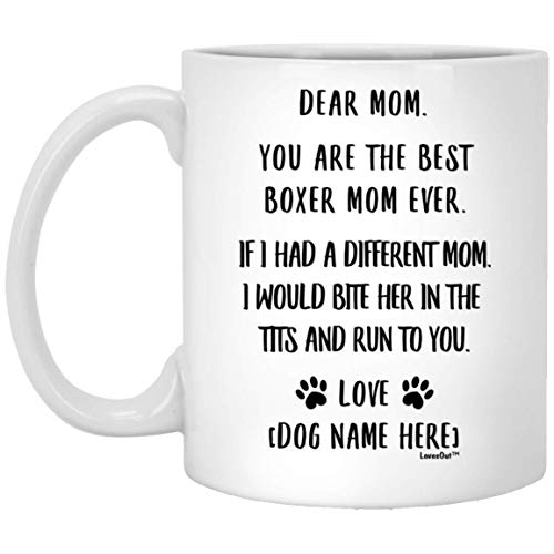 Funny Saying Personalized Boxer Gifts for Women Dog Mom Coffee Mug White...