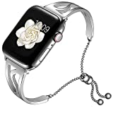 AMANECER Bracelet Compatible for Apple Watch Band 38mm 40mm 42mm 44mm, 2019 Dressy Fancy Jewelry Bangle Cuff for Iwatch Bands Series 4 3 2 1 Women Girls Adjustable Stainless Steel