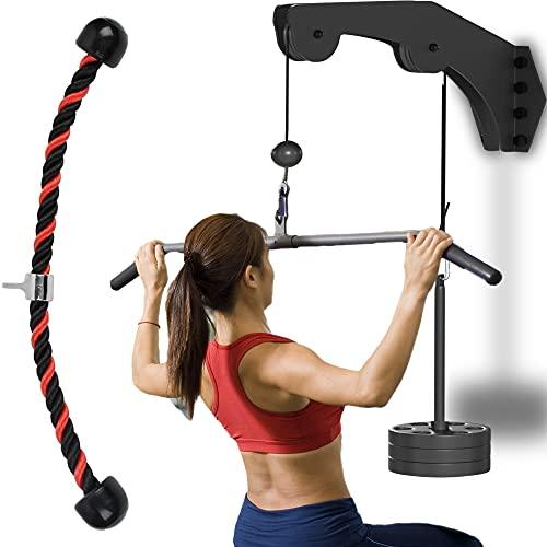 Senshi Japan Sistema de polea para máquina de montaje en pared – fácil de instalar con cuerda de tríceps, pin de carga de peso y cables – perfecto para gimnasios en casa y garajes