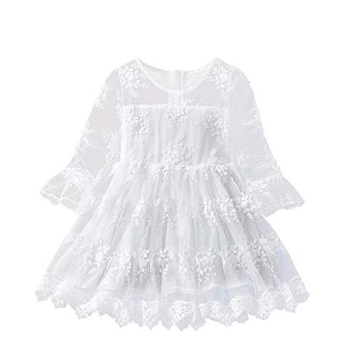 TTYAOVO Blumenmädchen Kleid Mädchen Spitze Prinzessin Party Pageant Tüll Vintage Kleid Größe (120) 4-5 Jahre 423 Weiß