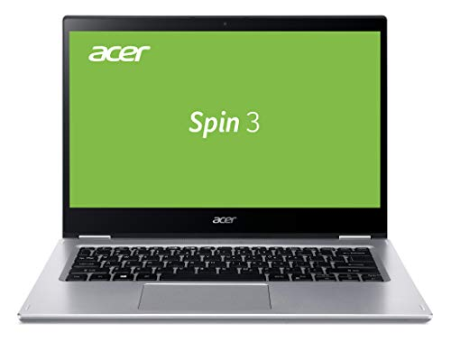 Acer Spin 3 (SP314-54N-52G8) 35,6 cm (14 Zoll Multi-Touch Full-HD IPS) Convertible Laptop (Intel Core i5-1035G4, 8 GB RAM, 1.000 GB PCIe SSD, Intel Iris Plus Graphics, Win 10 Home) silber