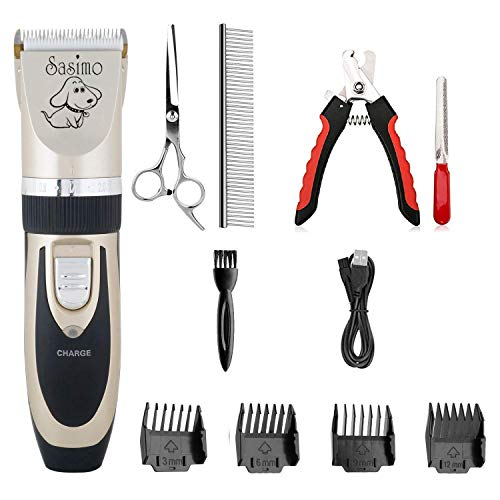 COROID Professional Automatic Rechargeable Pet Hair Trimmer for Dogs (Pet-Trimmer) (Black and Gold)