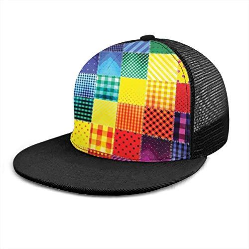 Baseballmütze Regenbogen farbige quadratische geometrische verstellbare Baseballmützen Unisex Hip Hop Snapback Flatbrim Hüte