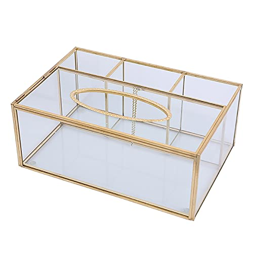 Qasole Cubierta De Caja De Tejido Rectangular De Vidrio Transparente, Soporte De Caja De Tejido Multifuncional con Caja De Control Remoto De Papelería