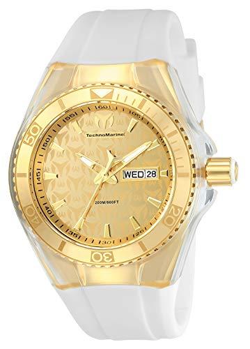 Technomarine Women's Cruise Monogram Stainless Steel Quartz Watch with Silicone Strap, White, 26 (Model: TM-115022)