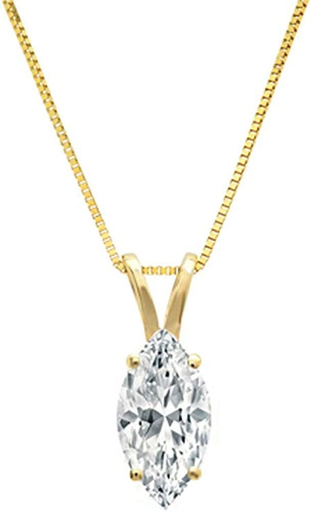 2.00 CT Marquise Cut Solitaire Necklace - 14k Solid Real Yellow White Gold Pendant CZ- Box Chain Nice Jewelry Gift for Women and Girls