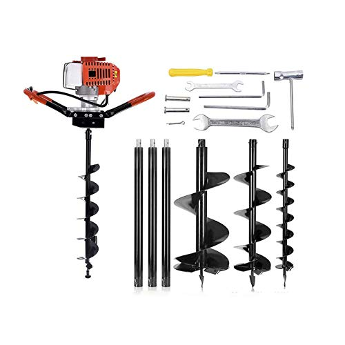 DatingDay 72CC 2-Stroke Auger Post Hole Digger 4HP Gas Powered Earth Auger Digging Engine with 3 Bits (4