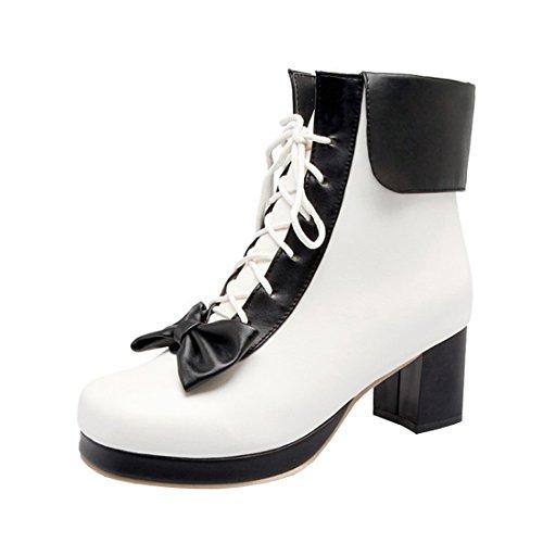 Agodor Damen Chunky Heels Ankle Boots mit Schnürung und Schleife Blockabsatz Süße Stiefeletten...